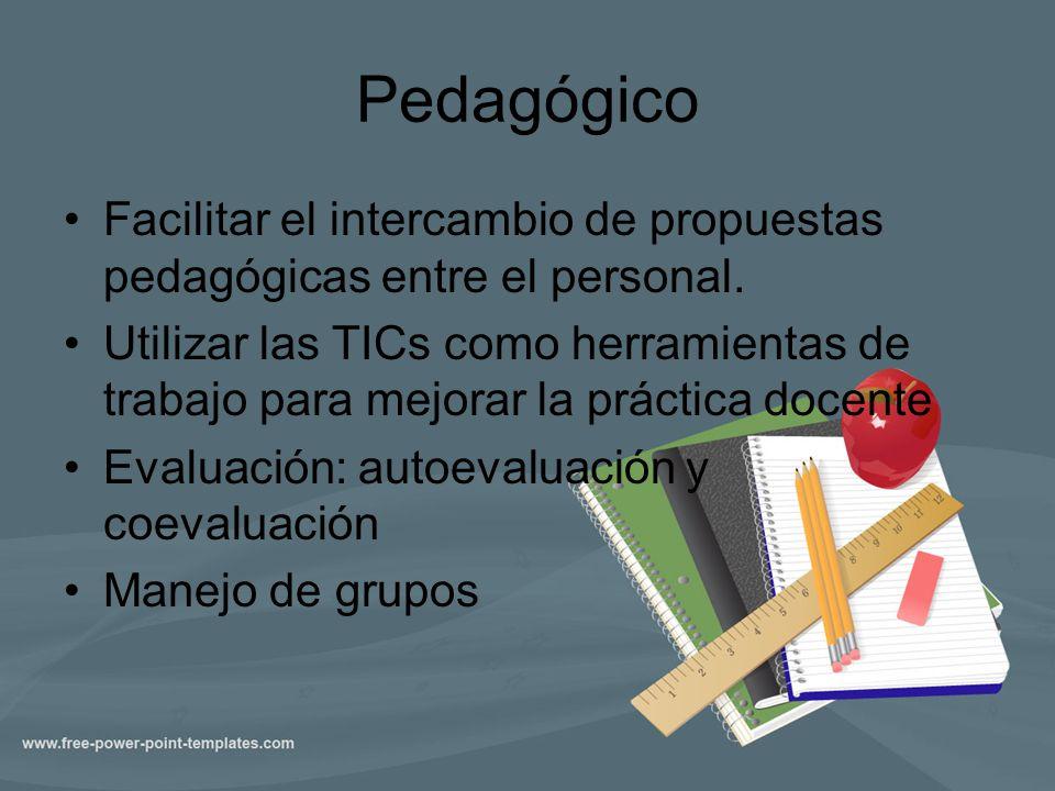 Pedagógico Facilitar el intercambio de propuestas pedagógicas entre el personal. Utilizar las TICs como herramientas de trabajo para mejorar la prácti