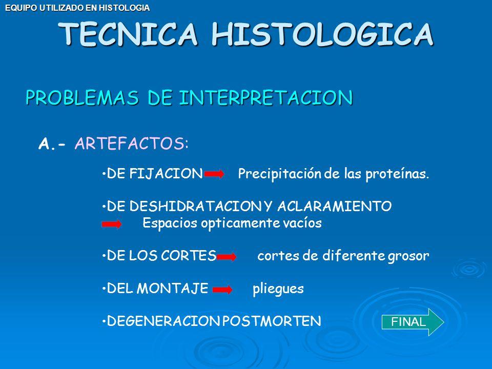 EQUIPO UTILIZADO EN HISTOLOGIA PROBLEMAS DE INTERPRETACION TECNICA HISTOLOGICA A.- ARTEFACTOS: DE FIJACION Precipitación de las proteínas. DE DESHIDRA