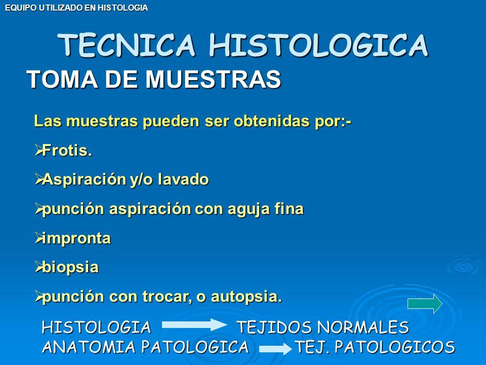 TOMA DE MUESTRAS TECNICA HISTOLOGICA HISTOLOGIATEJIDOS NORMALES ANATOMIA PATOLOGICA TEJ. PATOLOGICOS Las muestras pueden ser obtenidas por:- Frotis. F
