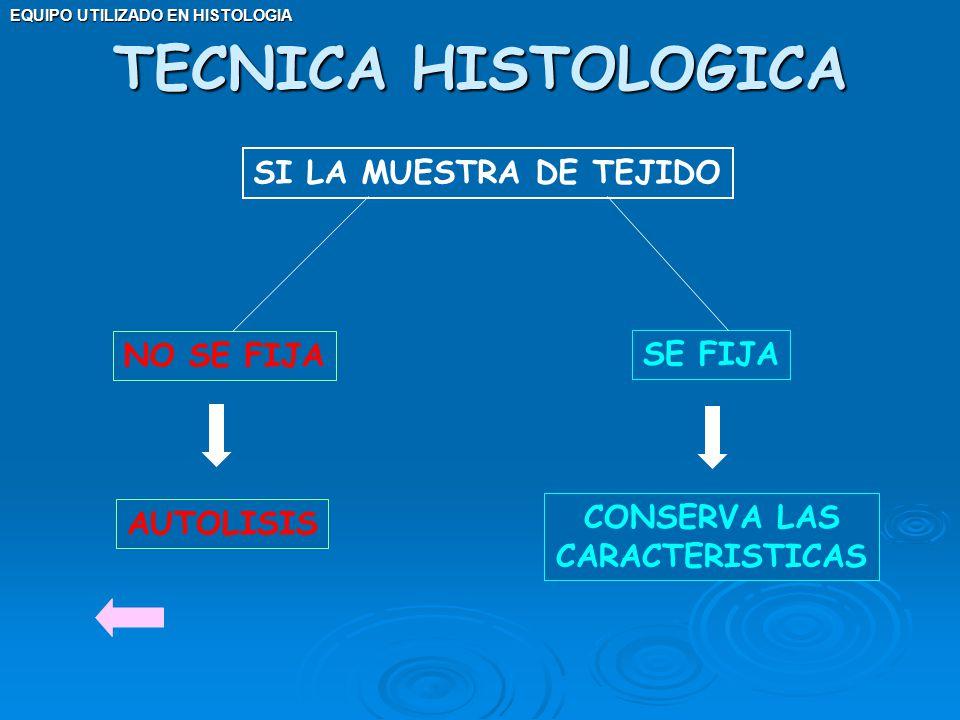 EQUIPO UTILIZADO EN HISTOLOGIA SI LA MUESTRA DE TEJIDO NO SE FIJA SE FIJA AUTOLISIS CONSERVA LAS CARACTERISTICAS TECNICA HISTOLOGICA
