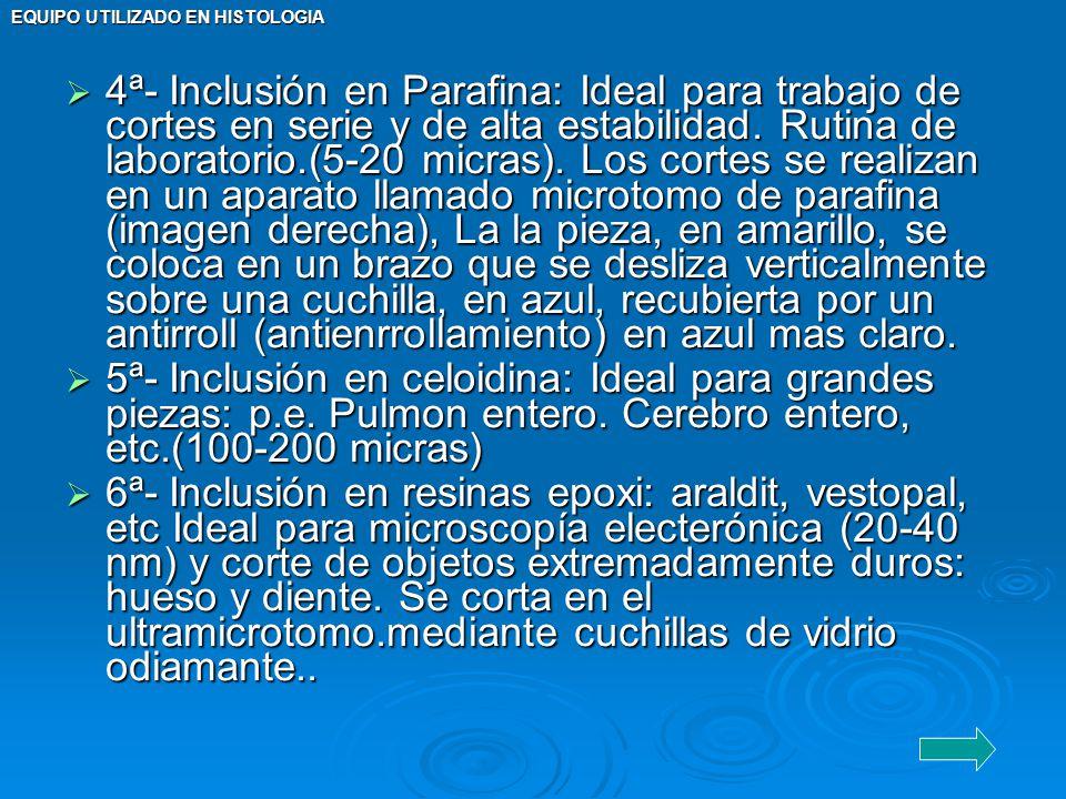 EQUIPO UTILIZADO EN HISTOLOGIA 4ª- Inclusión en Parafina: Ideal para trabajo de cortes en serie y de alta estabilidad. Rutina de laboratorio.(5-20 mic