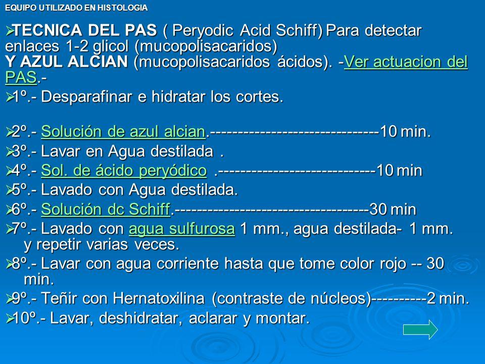 EQUIPO UTILIZADO EN HISTOLOGIA TECNICA DEL PAS ( Peryodic Acid Schiff) Para detectar enlaces 1-2 glicol (mucopolisacaridos) Y AZUL ALCIAN (mucopolisac