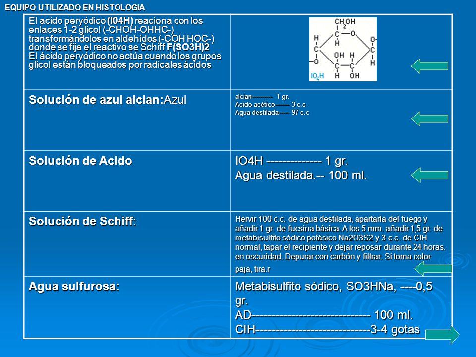 EQUIPO UTILIZADO EN HISTOLOGIA El acido peryódico (I04H) reaciona con los enlaces 1-2 glicol (-CHOH-OHHC-) transformándolos en aldehídos (-COH HOC-) d