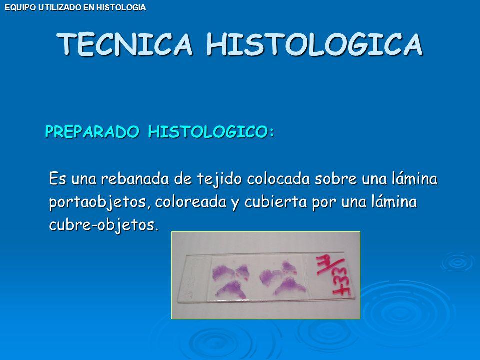 EQUIPO UTILIZADO EN HISTOLOGIA PREPARADO HISTOLOGICO: PREPARADO HISTOLOGICO: Es una rebanada de tejido colocada sobre una lámina portaobjetos, colorea