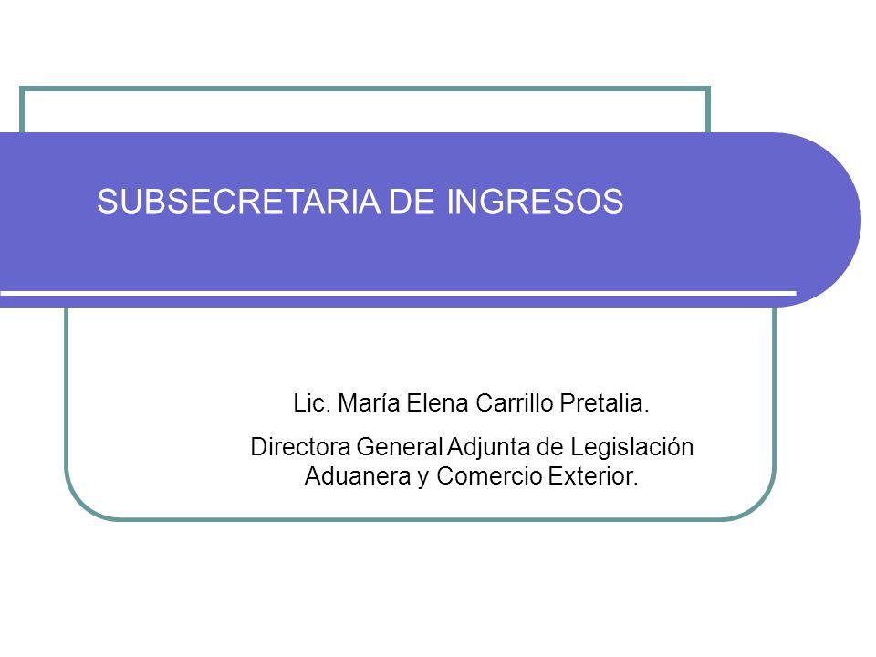 Lic. María Elena Carrillo Pretalia. Directora General Adjunta de Legislación Aduanera y Comercio Exterior. SUBSECRETARIA DE INGRESOS