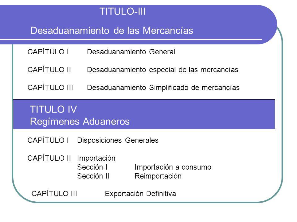 TITULO-III Desaduanamiento de las Mercancías CAPÍTULO IDesaduanamiento General CAPÍTULO IIDesaduanamiento especial de las mercancías CAPÍTULO IIIDesad