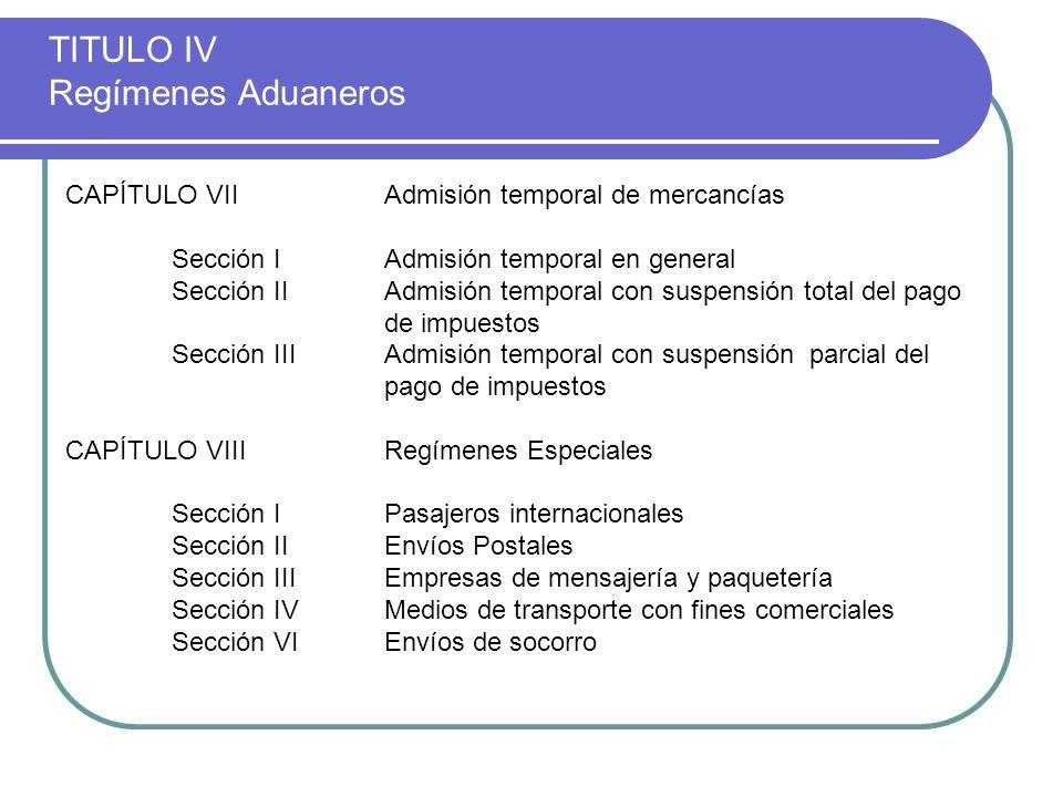 TITULO IV Regímenes Aduaneros CAPÍTULO VIIAdmisión temporal de mercancías Sección IAdmisión temporal en general Sección IIAdmisión temporal con suspen