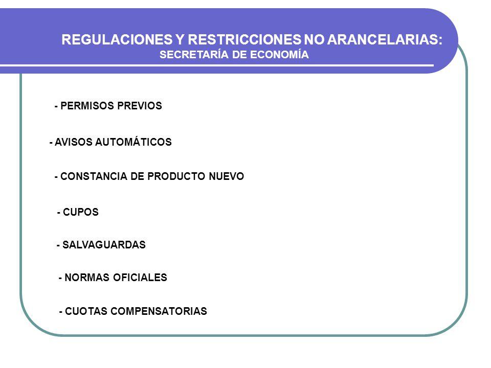 REGULACIONES Y RESTRICCIONES NO ARANCELARIAS: SECRETARÍA DE ECONOMÍA - PERMISOS PREVIOS - AVISOS AUTOMÁTICOS - CONSTANCIA DE PRODUCTO NUEVO - CUPOS -
