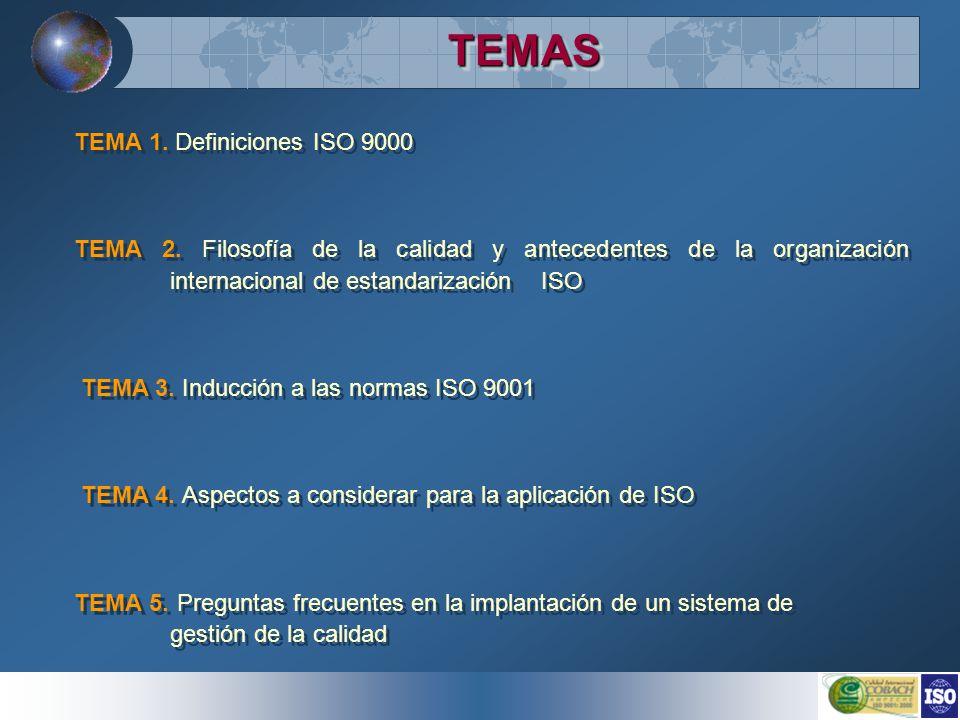 TEMASTEMAS TEMA 1. Definiciones ISO 9000 TEMA 2. Filosofía de la calidad y antecedentes de la organización internacional de estandarización ISO TEMA 3