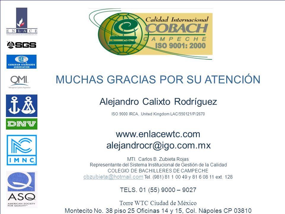 MUCHAS GRACIAS POR SU ATENCIÓN Alejandro Calixto Rodríguez ISO 9000 IRCA, United Kingdom LAC/550121/P/2670 www.enlacewtc.com alejandrocr@igo.com.mx MTI.