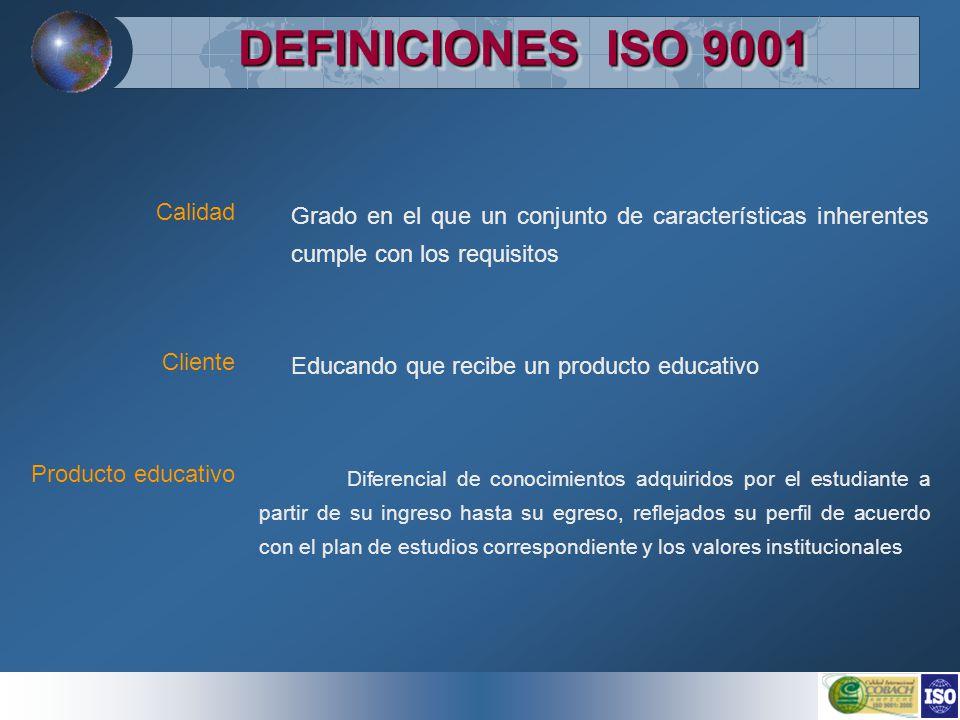 DEFINICIONES ISO 9001 Grado en el que un conjunto de características inherentes cumple con los requisitos Educando que recibe un producto educativo Di