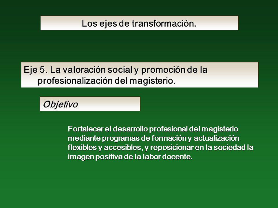 Eje 5. La valoración social y promoción de la profesionalización del magisterio.