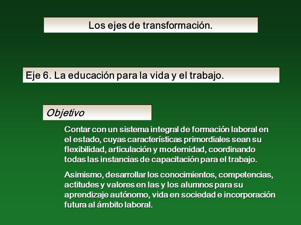 Eje 6. La educación para la vida y el trabajo.