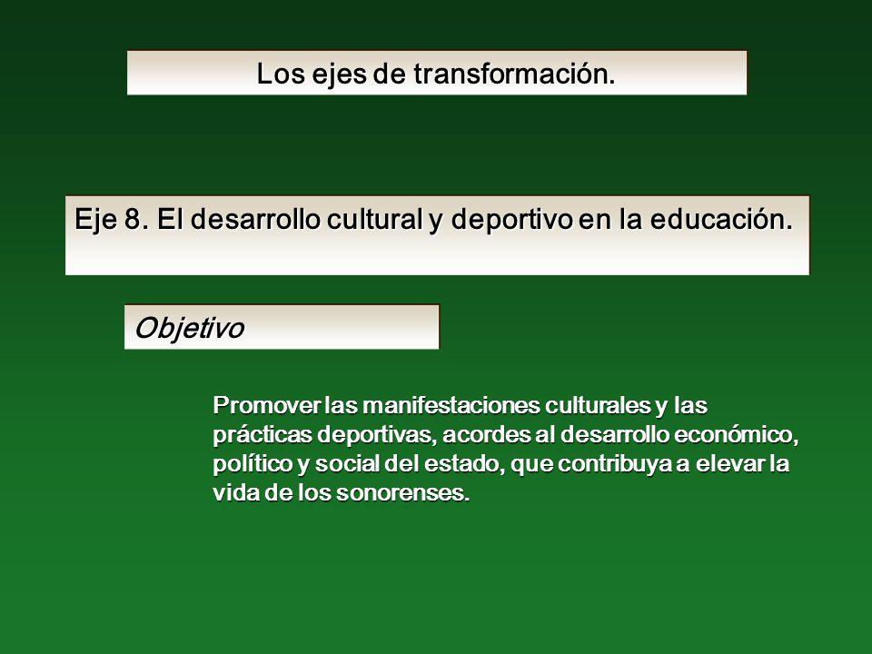 Eje 8. El desarrollo cultural y deportivo en la educación.