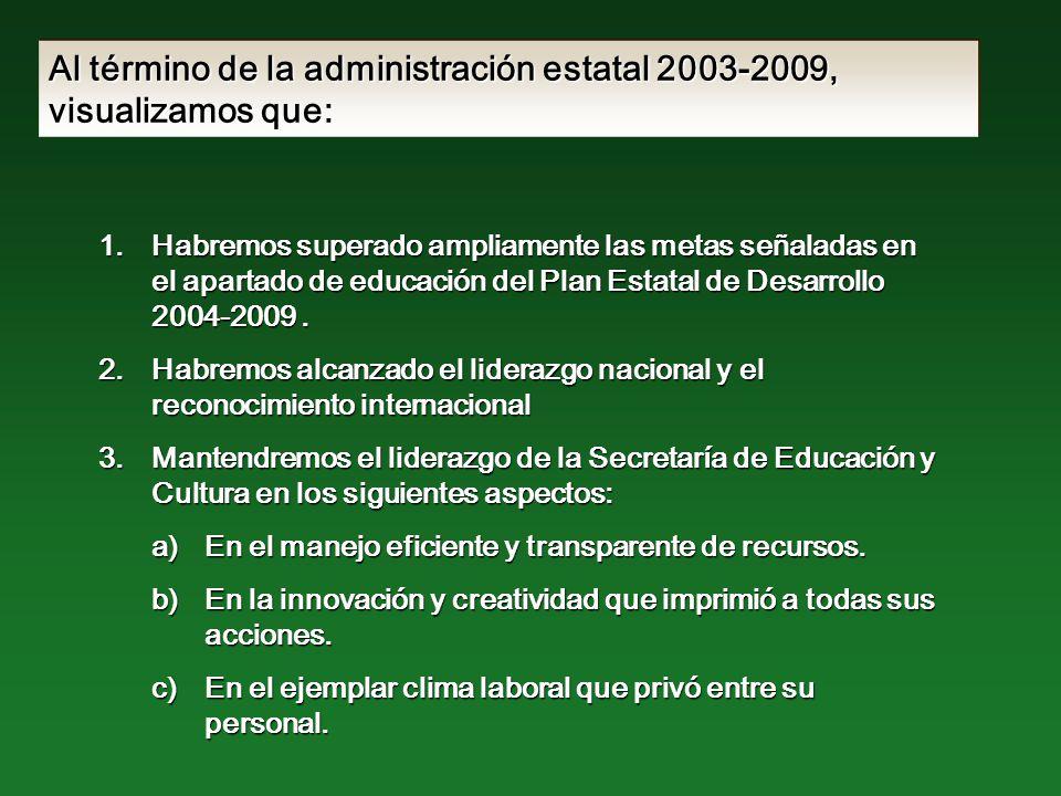 Al término de la administración estatal 2003-2009, visualizamos que: 1.Habremos superado ampliamente las metas señaladas en el apartado de educación del Plan Estatal de Desarrollo 2004-2009.
