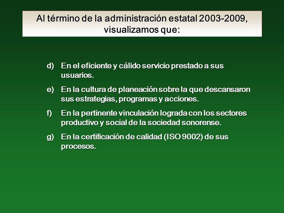 Al término de la administración estatal 2003-2009, visualizamos que: d)En el eficiente y cálido servicio prestado a sus usuarios.
