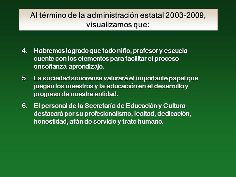 Al término de la administración estatal 2003-2009, visualizamos que: 4.Habremos logrado que todo niño, profesor y escuela cuente con los elementos para facilitar el proceso enseñanza-aprendizaje.