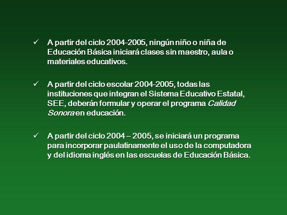 A partir del ciclo 2004-2005, ningún niño o niña de Educación Básica iniciará clases sin maestro, aula o materiales educativos.