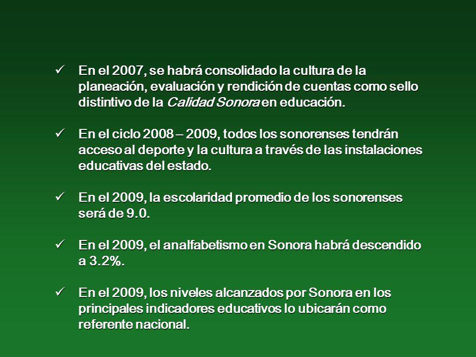 En el 2007, se habrá consolidado la cultura de la planeación, evaluación y rendición de cuentas como sello distintivo de la Calidad Sonora en educación.