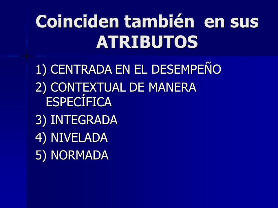Coinciden también en sus ATRIBUTOS 1) CENTRADA EN EL DESEMPEÑO 2) CONTEXTUAL DE MANERA ESPECÍFICA 3) INTEGRADA 4) NIVELADA 5) NORMADA