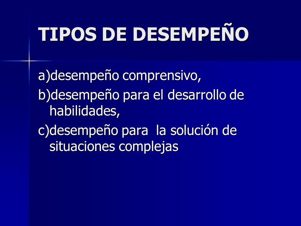 TIPOS DE DESEMPEÑO a)desempeño comprensivo, b)desempeño para el desarrollo de habilidades, c)desempeño para la solución de situaciones complejas