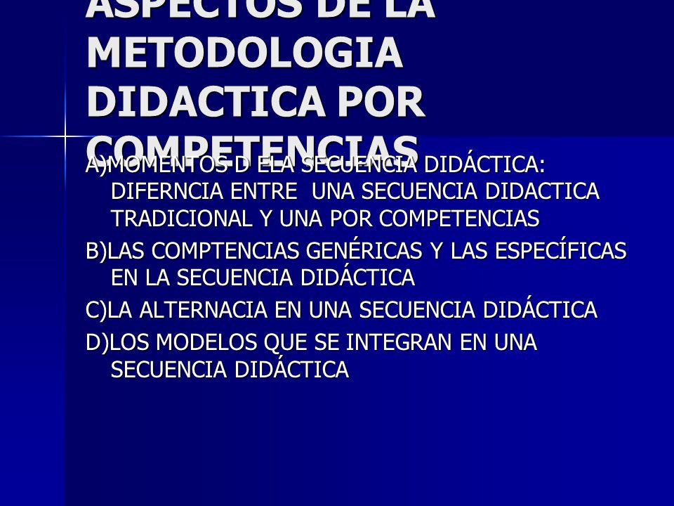 ASPECTOS DE LA METODOLOGIA DIDACTICA POR COMPETENCIAS A)MOMENTOS D ELA SECUENCIA DIDÁCTICA: DIFERNCIA ENTRE UNA SECUENCIA DIDACTICA TRADICIONAL Y UNA POR COMPETENCIAS B)LAS COMPTENCIAS GENÉRICAS Y LAS ESPECÍFICAS EN LA SECUENCIA DIDÁCTICA C)LA ALTERNACIA EN UNA SECUENCIA DIDÁCTICA D)LOS MODELOS QUE SE INTEGRAN EN UNA SECUENCIA DIDÁCTICA
