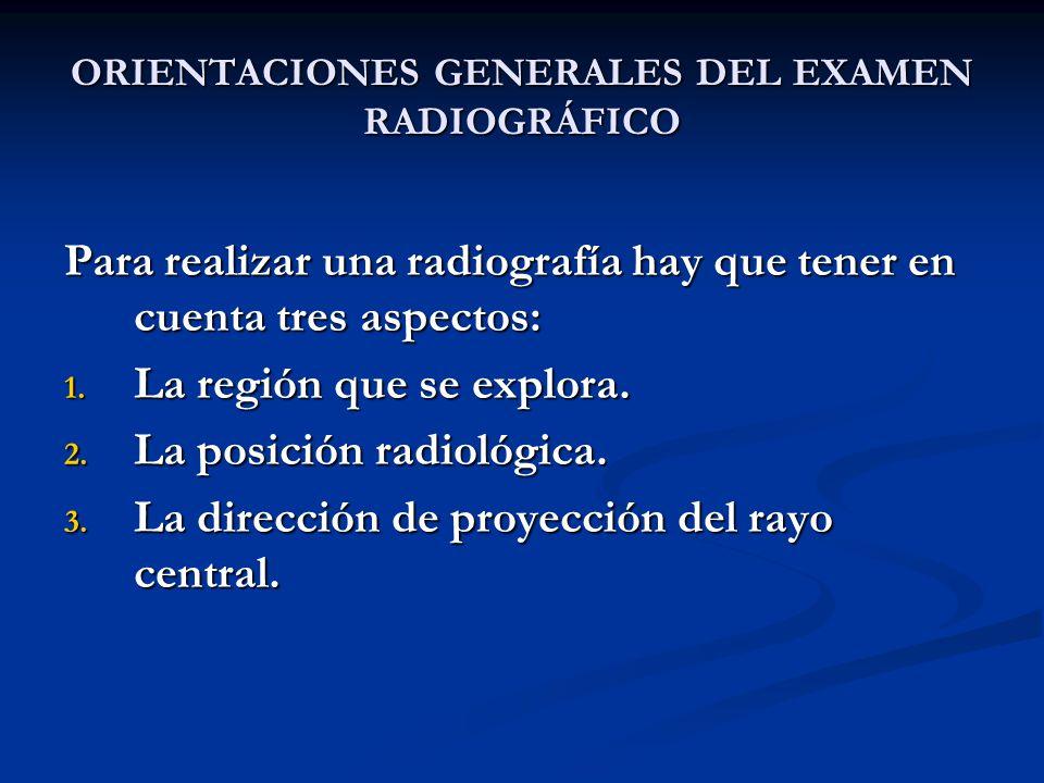 ORIENTACIONES GENERALES DEL EXAMEN RADIOGRÁFICO Para realizar una radiografía hay que tener en cuenta tres aspectos: 1. La región que se explora. 2. L