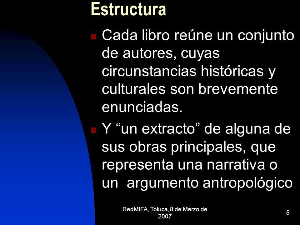 RedMIFA, Toluca, 8 de Marzo de 2007 5 Estructura Cada libro reúne un conjunto de autores, cuyas circunstancias históricas y culturales son brevemente