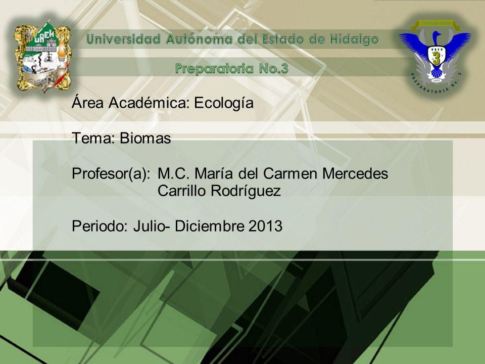 Área Académica: Ecología Tema: Biomas Profesor(a): M.C.