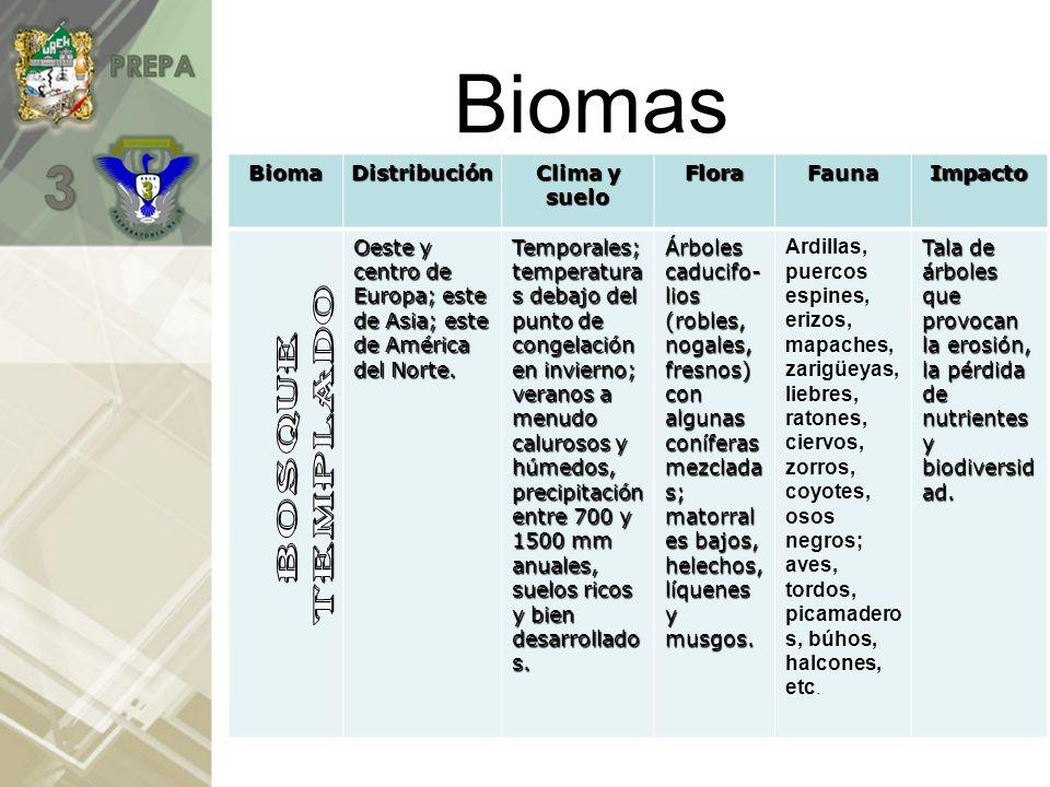 BiomasBiomaDistribución Clima y suelo FloraFaunaImpacto Regiones septentriona-les de América del Norte, Europa y Asia, que se extienden al sur en las mayores elevaciones (terrenos glaciales) Temporal; con inviernos largos y fríos.