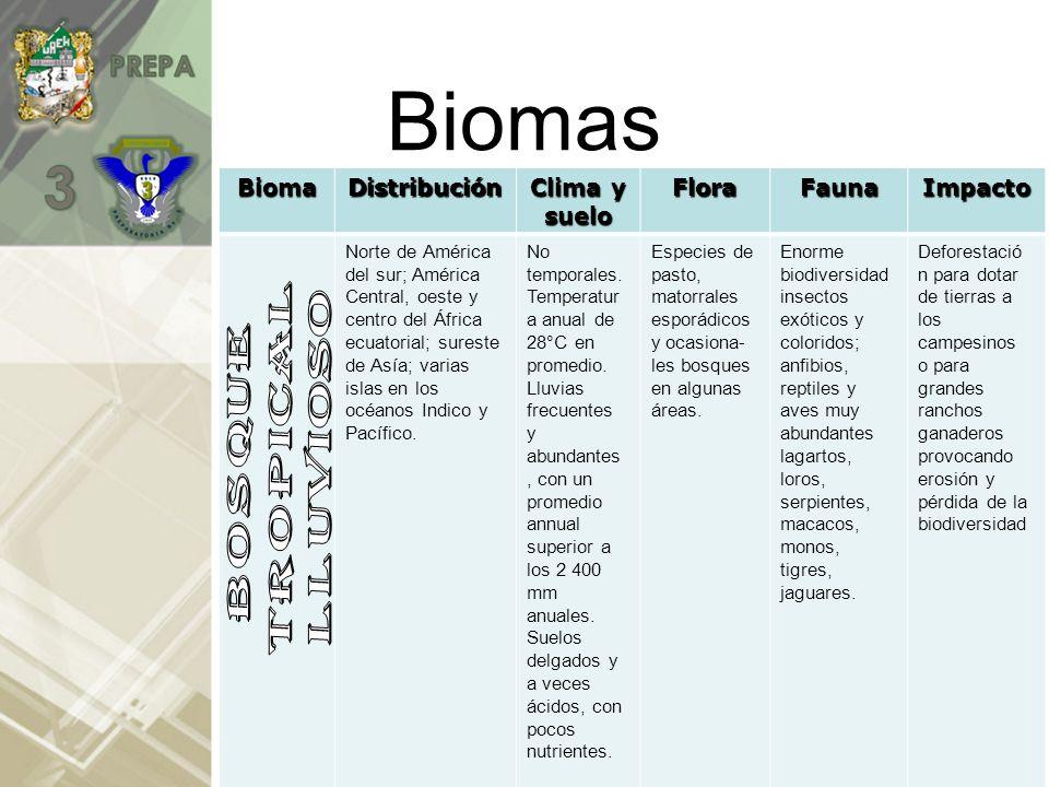 BiomasBiomaDistribución Clima y suelo FloraFaunaImpacto Oeste y centro de Europa; este de Asia; este de América del Norte.