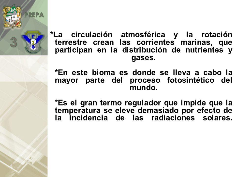 Característica del bioma marino *En el agua se encuentran disueltos el O y el CO2 *A mayor profundidad aumenta la presión hidrostática y disminuye la luz.
