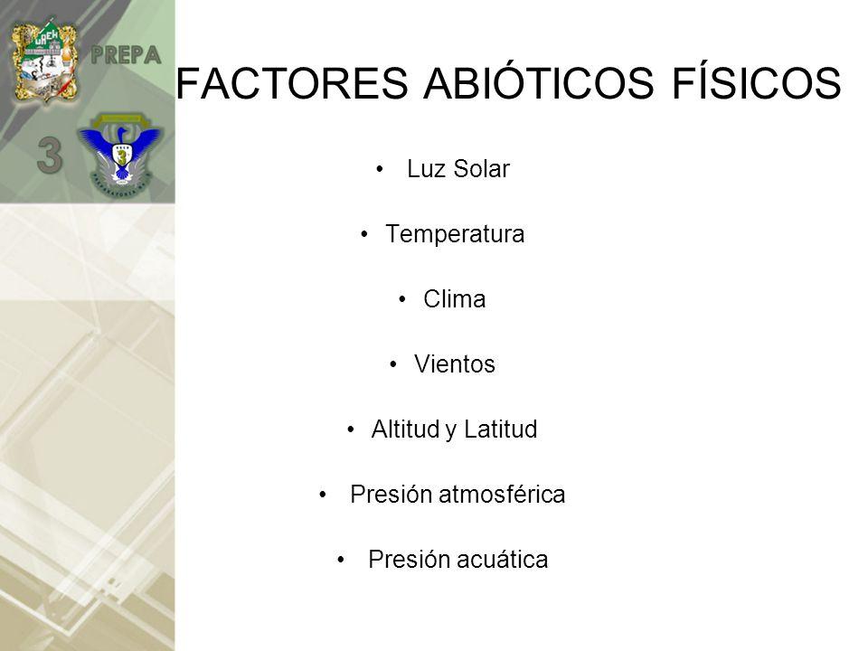 FACTORES ABIÓTICOS FÍSICOS Luz Solar Temperatura Clima Vientos Altitud y Latitud Presión atmosférica Presión acuática
