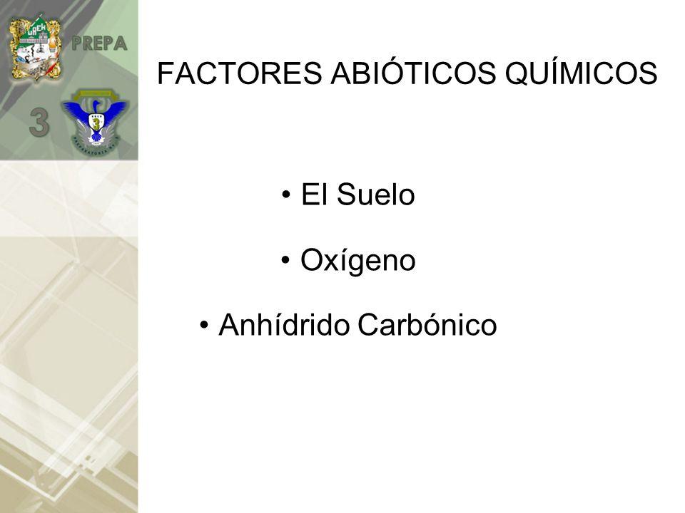 FACTORES ABIÓTICOS QUÍMICOS El Suelo Oxígeno Anhídrido Carbónico