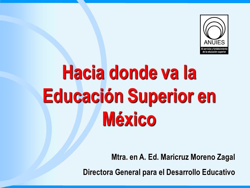 Plan de la exposición Una nueva sociedad: La del conocimiento Panorama de la Educación Superior en México Algunas tendencias de la Educación Superior Mexicana Conclusiones Hacia donde va la Educación Superior en México