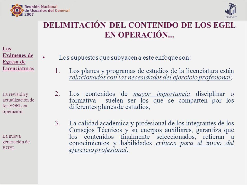 DELIMITACIÓN DEL CONTENIDO DE LOS EGEL EN OPERACIÓN... Los supuestos que subyacen a este enfoque son: 1.Los planes y programas de estudios de la licen