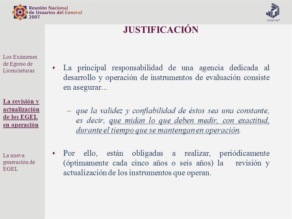 JUSTIFICACIÓN La principal responsabilidad de una agencia dedicada al desarrollo y operación de instrumentos de evaluación consiste en asegurar... –qu
