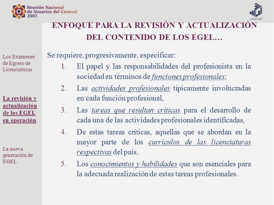 ENFOQUE PARA LA REVISIÓN Y ACTUALIZACIÓN DEL CONTENIDO DE LOS EGEL… Se requiere, progresivamente, especificar: 1.El papel y las responsabilidades del