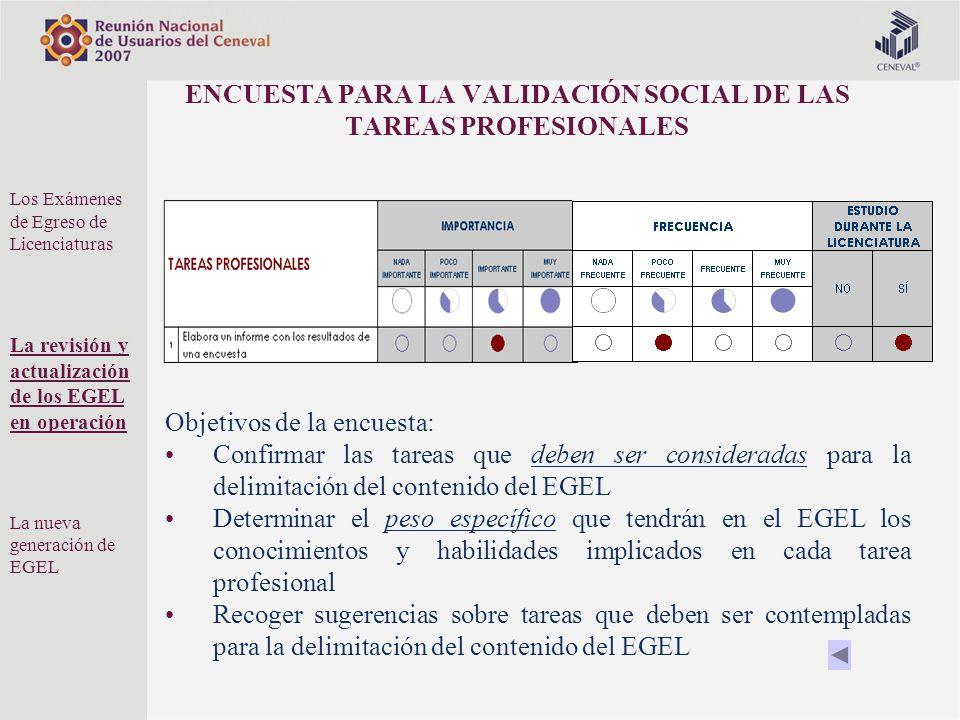 ENCUESTA PARA LA VALIDACIÓN SOCIAL DE LAS TAREAS PROFESIONALES Objetivos de la encuesta: Confirmar las tareas que deben ser consideradas para la delim