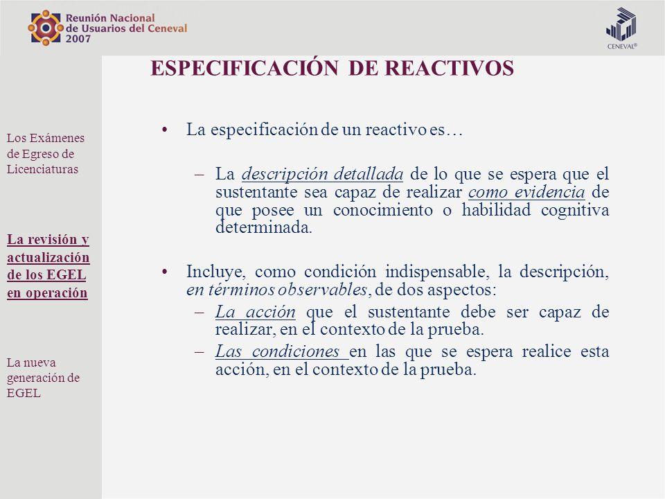 ESPECIFICACIÓN DE REACTIVOS La especificación de un reactivo es… –La descripción detallada de lo que se espera que el sustentante sea capaz de realiza