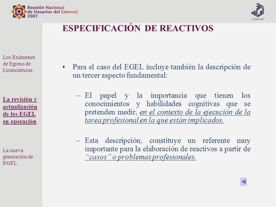 ESPECIFICACIÓN DE REACTIVOS Para el caso del EGEL incluye también la descripción de un tercer aspecto fundamental: –El papel y la importancia que tien