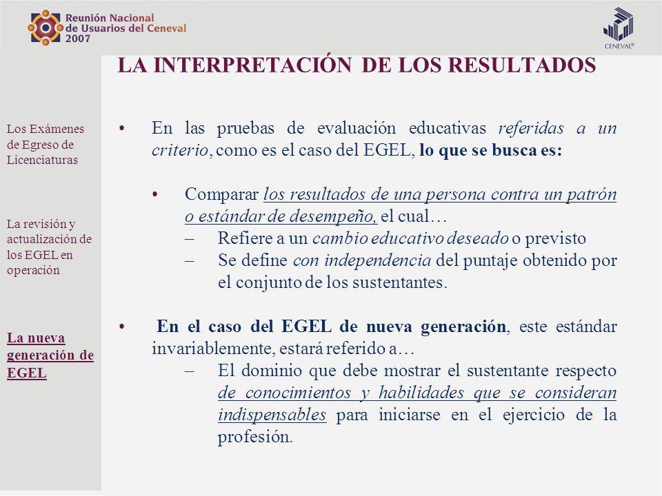 LA INTERPRETACIÓN DE LOS RESULTADOS En las pruebas de evaluación educativas referidas a un criterio, como es el caso del EGEL, lo que se busca es: Com