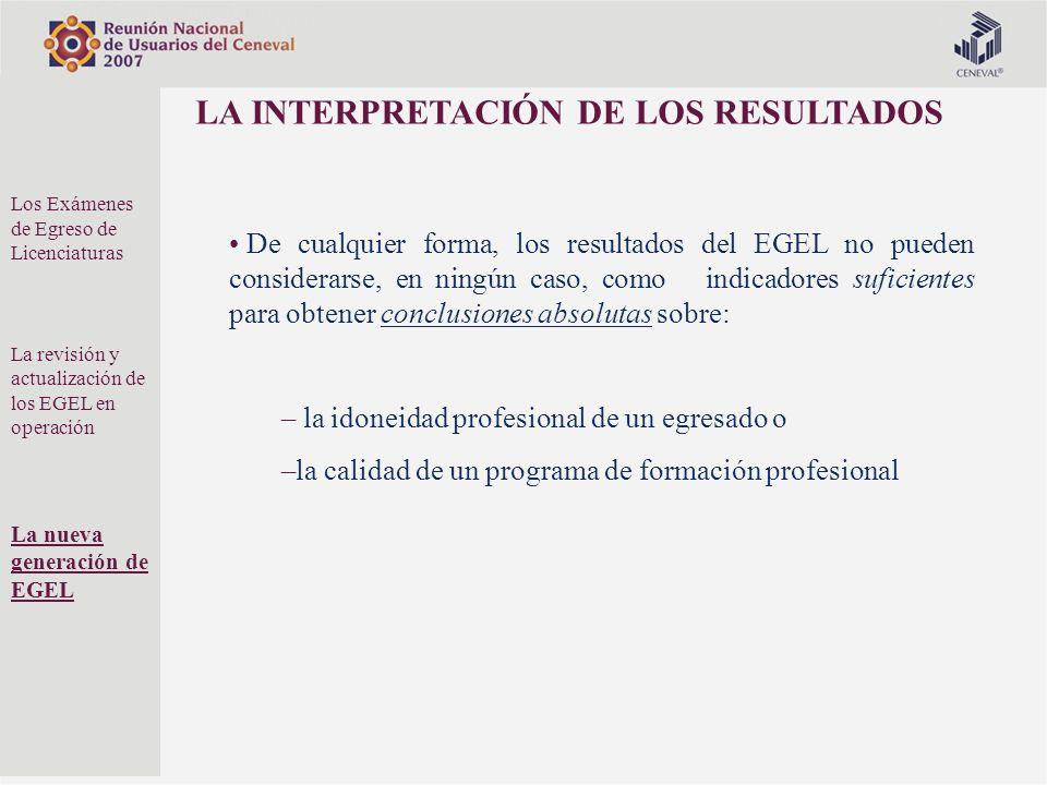 LA INTERPRETACIÓN DE LOS RESULTADOS De cualquier forma, los resultados del EGEL no pueden considerarse, en ningún caso, como indicadores suficientes p