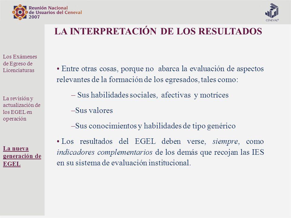 LA INTERPRETACIÓN DE LOS RESULTADOS Entre otras cosas, porque no abarca la evaluación de aspectos relevantes de la formación de los egresados, tales c