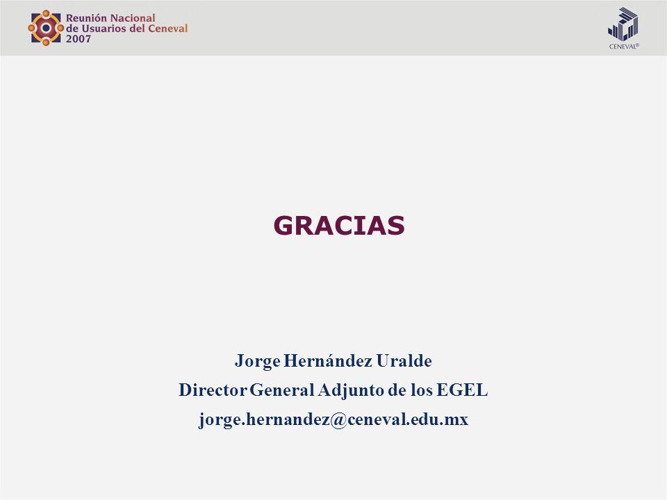 GRACIAS Jorge Hernández Uralde Director General Adjunto de los EGEL jorge.hernandez@ceneval.edu.mx