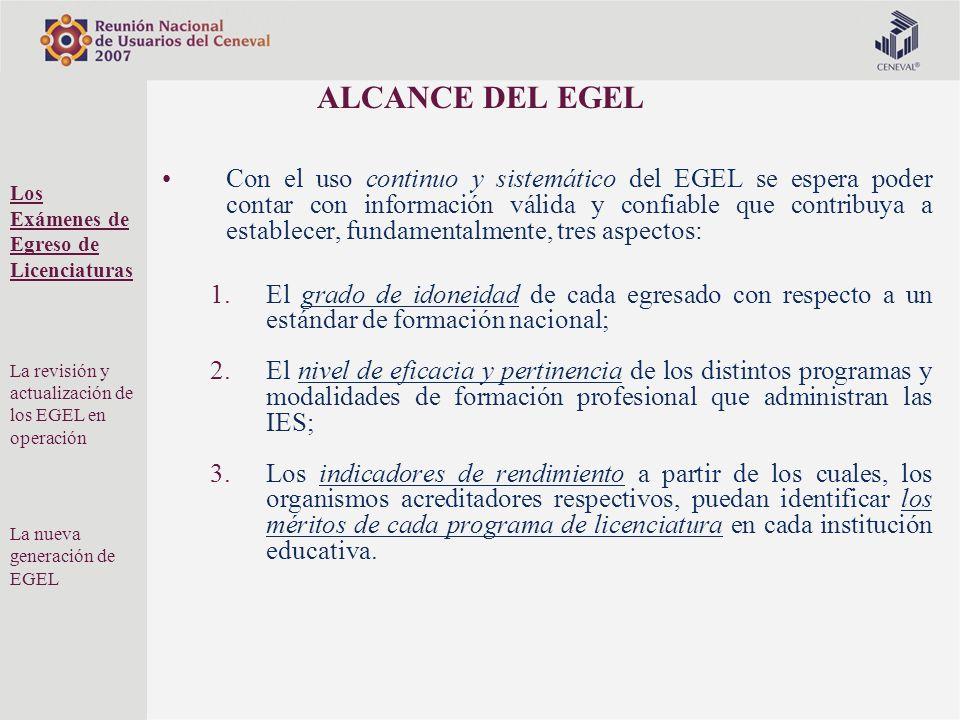 ALCANCE DEL EGEL Con el uso continuo y sistemático del EGEL se espera poder contar con información válida y confiable que contribuya a establecer, fun
