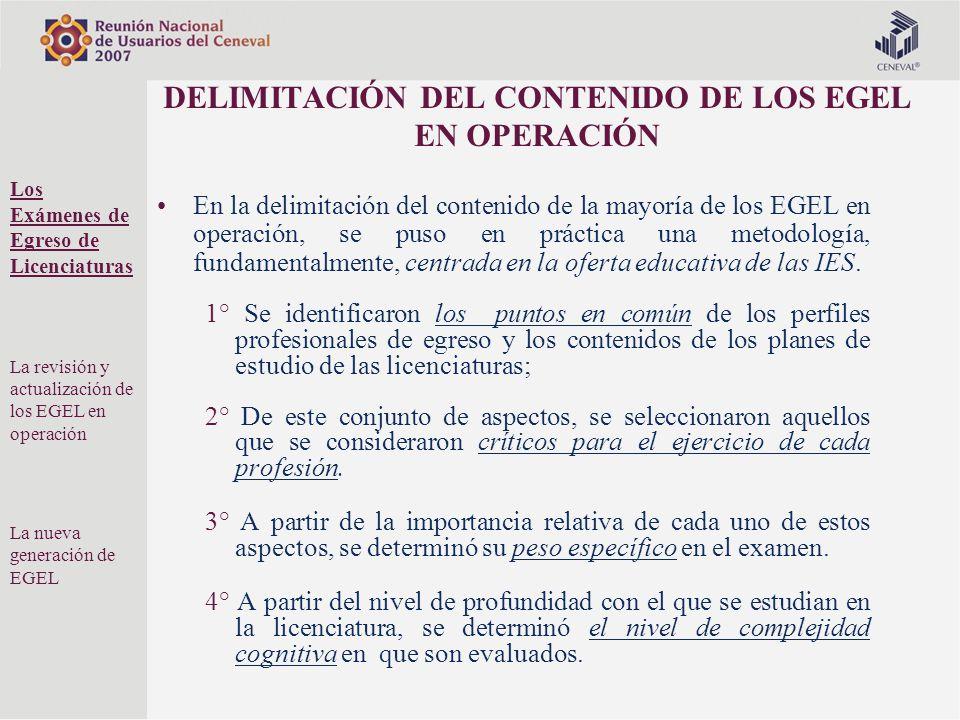 DELIMITACIÓN DEL CONTENIDO DE LOS EGEL EN OPERACIÓN En la delimitación del contenido de la mayoría de los EGEL en operación, se puso en práctica una m