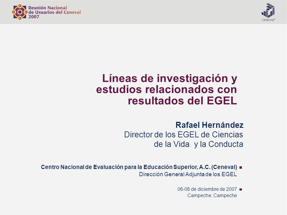 Líneas de investigación y estudios relacionados con resultados del EGEL Centro Nacional de Evaluación para la Educación Superior, A.C. (Ceneval) Direc