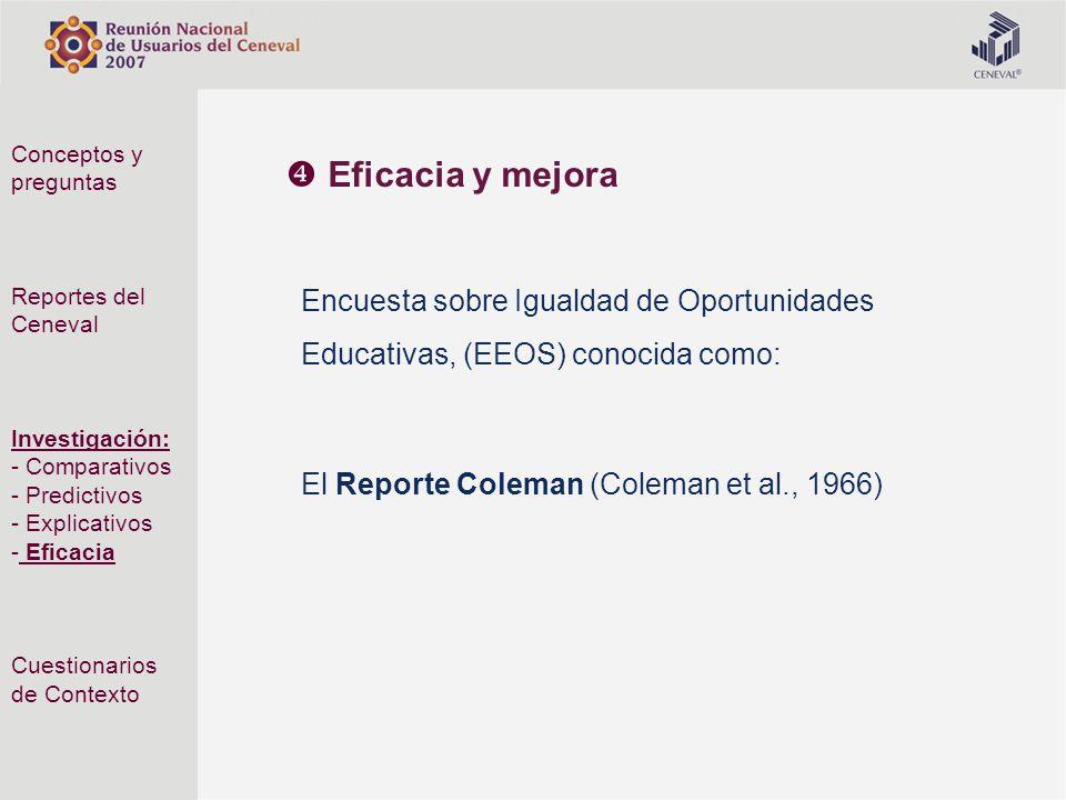 Encuesta sobre Igualdad de Oportunidades Educativas, (EEOS) conocida como: El Reporte Coleman (Coleman et al., 1966) Conceptos y preguntas Reportes de