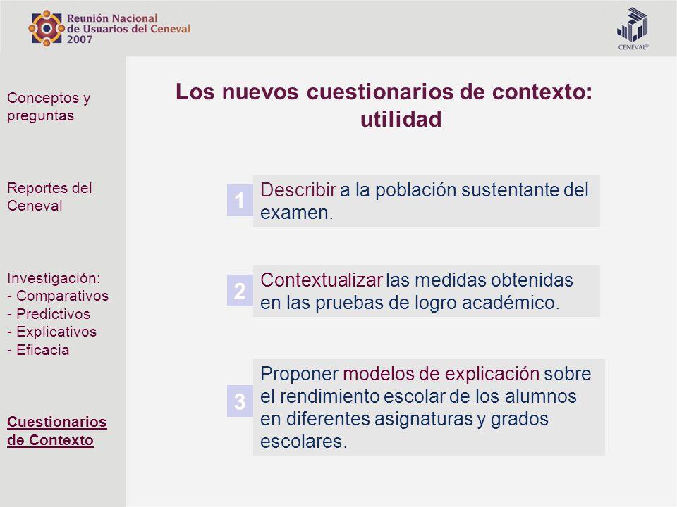 Los nuevos cuestionarios de contexto: utilidad Proponer modelos de explicación sobre el rendimiento escolar de los alumnos en diferentes asignaturas y